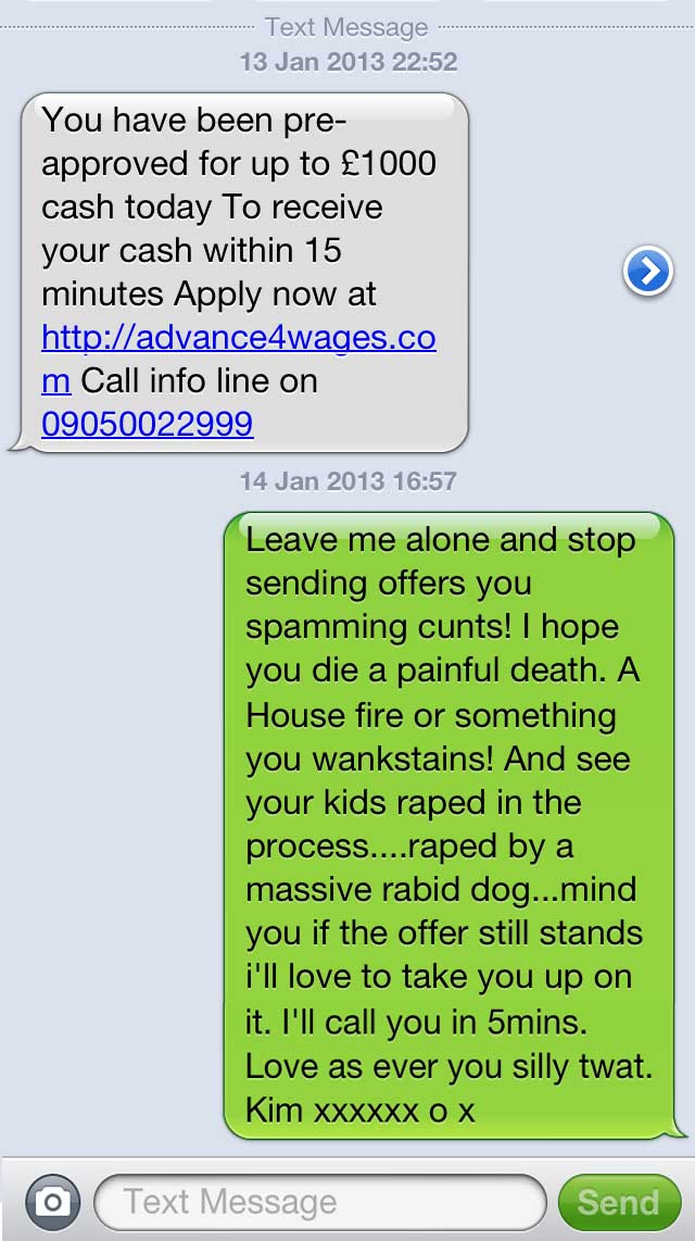 how to send spam texts